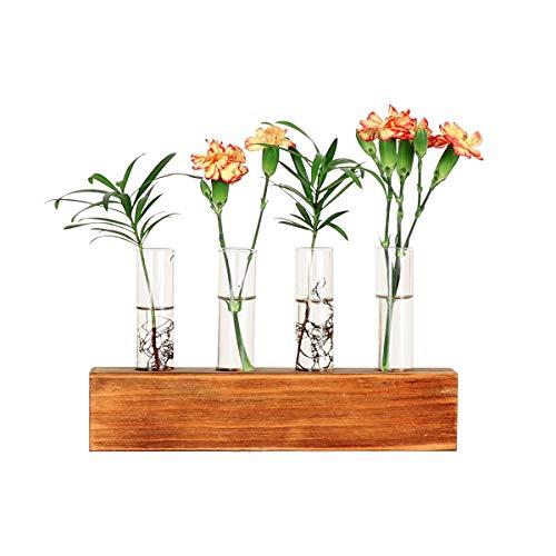 Zunbo Hydroponik Wasserpflanzen Glasvase Reagenzglas mit Holz Halter,Dekovase,Blumenvase auf dem Tisch sitzen Glasvase für Wasserpflanzen Herzform und Birneform (Reagenzglas 4 Vasen)