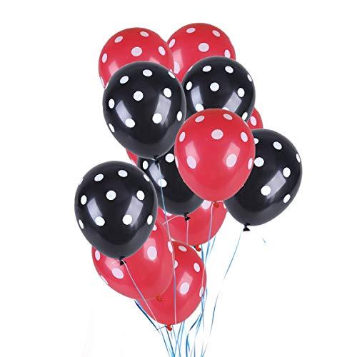 TOYMYTOY Globos de látex con lunares, 50 unidades, 12 pulgadas, para la decoración de fiestas (rojo y negro)