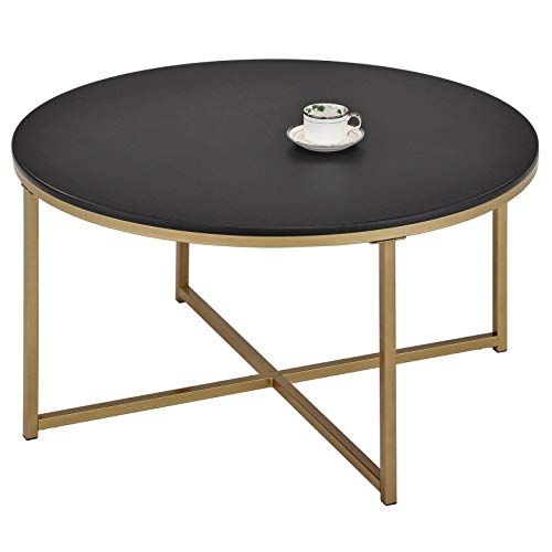 IDIMEX Couchtisch Frankfurt modernes Design, Beistelltisch Wohnzimmertisch Sofatisch Kaffeetisch, 90 cm runde Tischplatte in schwarz