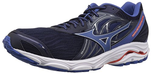 Mizuno Men's Wave Inspire 14 Running Shoe, Evening Blue/Cherry Tomato, 7.5