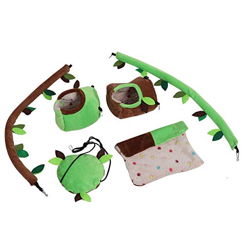 HEEPDD Hamster Hammock Toy Set Plush Stump Hanging Bed Swing Bendable Vine Cage Decoration for Small Animal Mice Rat Sugar Glider Chinchilla Squirrel Parrots