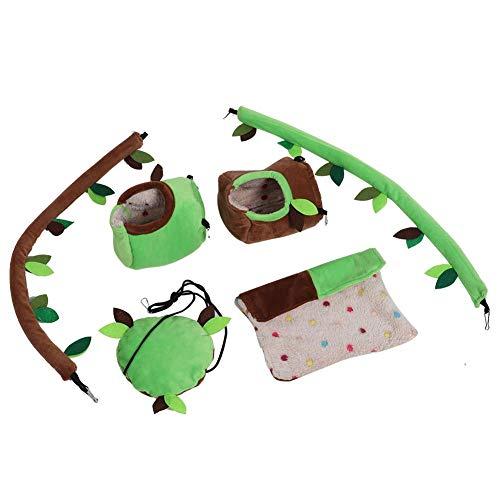 HEEPDD Hamster Hängematte Spielzeug Set Plüsch Stumpf Hängebett Schaukel Biegsamen Weinkäfig Dekoration für Kleintier Mäuse Ratte Zucker Segelflugzeug Chinchilla Eichhörnchen Papageien