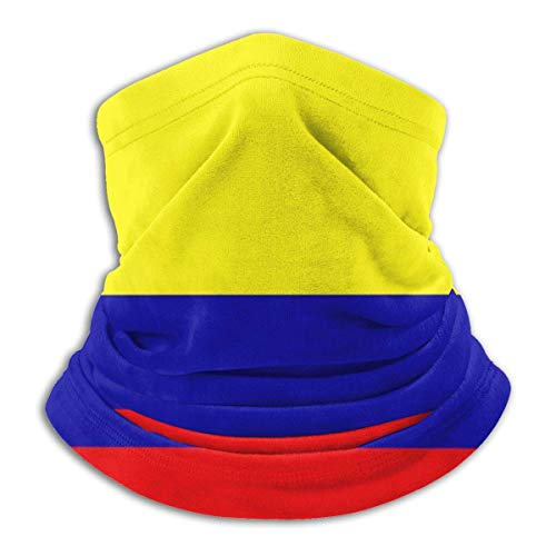 deyhfef Colombia Bandiera Pile Scaldacollo intrappolamento Termico a Prova di Sole Scaldacollo Tubo Morbido Passamontagna Elastico Mezza Maschera Unisex Antivento SK