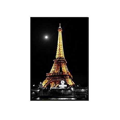 yaoxingfu Sin Marco Noche Torre de París Estilo Industrial Moderno Paisaje de la Ciudad nórdica Lienzo ng Silla Lámpara de Calle Cartel Habitación Decoración Imagen de la Pared 40x60cm