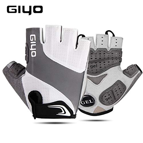 Men and Women Half Finger Outdoor Sports Gloves Gel Pad Breathable Mountain Bike Road Racing Cycling Gloves,White,M