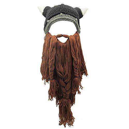 Xinqiao Men's Viking w/Fake Beard Beanie Handmade Knit Funny Hats...