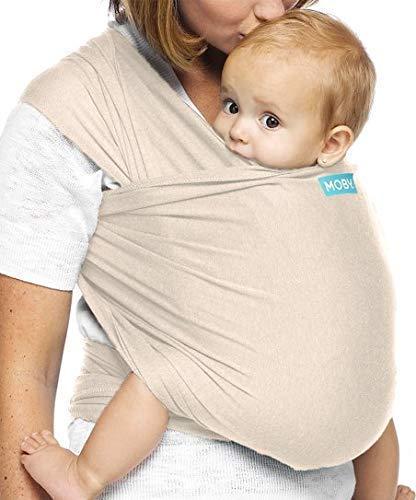Moby Evolution Porte-bébé en amande pour nouveau-né jusqu'à 30 kg, porte-bébé dès la naissance, taille unique, respirant extensible fabriqué à partir de 70% viscose 30% coton, unisexe