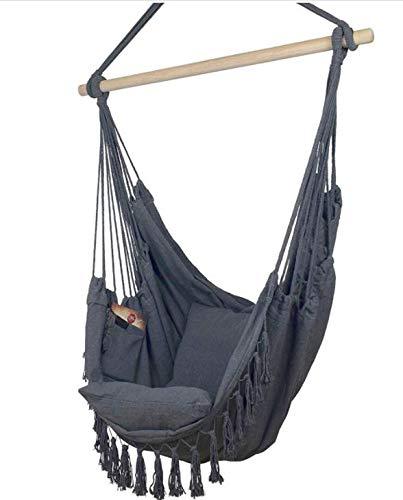 Hamaca colgante, color negro, silla colgante, 2 cojines de asiento y bolsa de libros, incluye juego de fijación para interior y exterior, 150 kg (marrón), hamaca colgante ✅