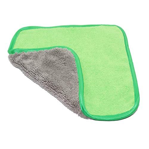 Asciugamano in velluto di corallo morbido Lavaggio super assorbente Lavaggio auto Asciugamano in microfibra Lavaggio per auto Panno per pulizia Super spessa Panno per peluche , Grigio e verde