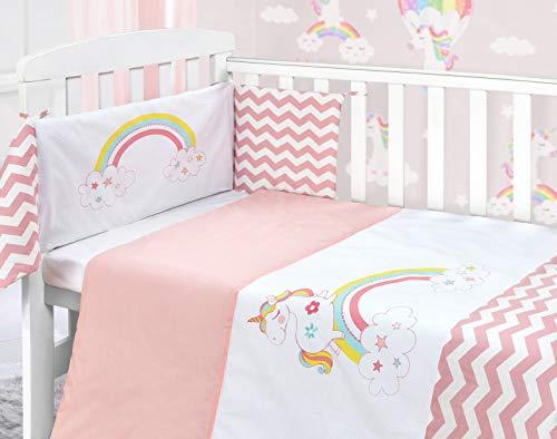 My Little World - Juego de cama infantil con diseño de unicornio y arcoíris, color rosa