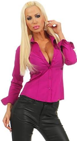 Fashion4Young 5985 Damen Bodybluse Tailliert Langarm Bluse Damenbluse Bodybluse Hemdbluse