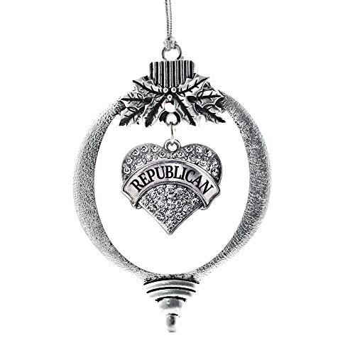 Inspired Silver - Republican Charm Ornament - Silver Pave Heart Charm Holiday Ornaments with Cubic Zirconia Jewelry