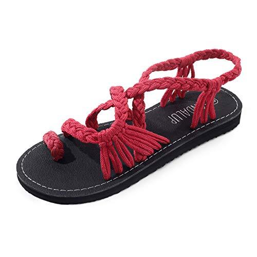 Sandalias para Mujer Sandalias de Verano Sandalias Hechas a Mano con Dedo de Anillo Plano Sandalias Romanas