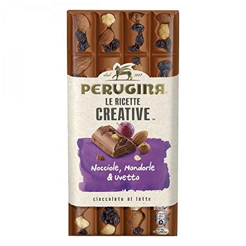 PERUGINA LE RICETTE CREATIVE Nocciola Mandorle Uvetta tavoletta di cioccolato al latte 195g [Confezione da 2]