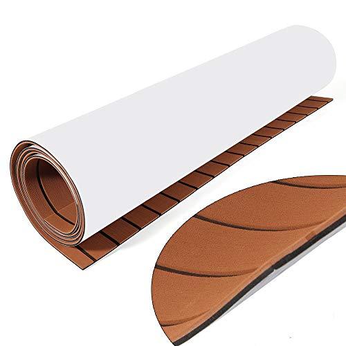 "EVA Foam Teak Sheet, 35.4"" X 94.5"" Boat Marine Flooring Mats Carpet Faux Teak EVA Decking Sheet Pads, Self-Adhesive Decking Sheet Brown Foam for Decking RV Swimming Pool Garden Yacht Boat"