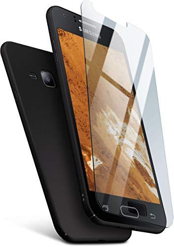 moex Hardcase kompatibel mit Samsung Galaxy J1 (2015) - Hülle Ultra dünn mit Panzerglas Schutzfolie, Slim Hülle Handyhülle beidseitig, matt Schwarz