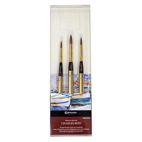 Escoda Signature Collection Charles Reid Artist Watercolor Brush Set, Reserva Travel Round, Size 6, 8, 10