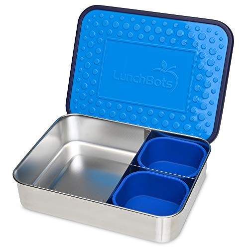 LunchBots Light Trio Three-Section Large Bento Box  Silicone Cups – Large Stainless Steel Lunch Container - Sandwich and Sides - BPA Free Plastic Lid - Dishwasher Safe – Ocean