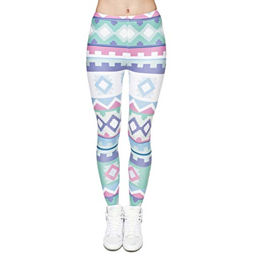XRHYJW Yoga-Hose Damen Sport Fitness Badmintonhose Frauen Warme Farbgeometrie Druck Leggings Persönlichkeit Mode Leggings