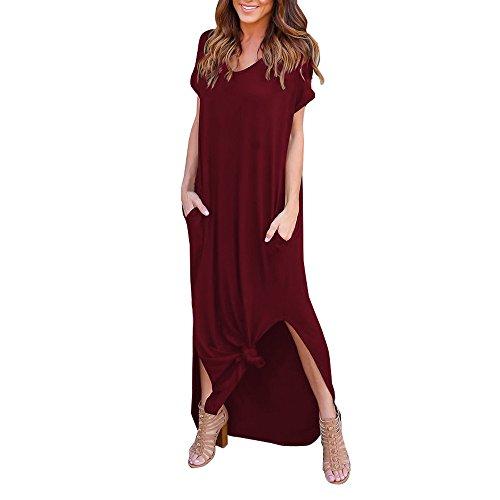 Nufelans vrouwen casual losse korte mouw Maxi jurken lange jurken met zakken voor feestwerk