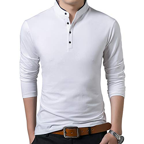 Derrick Aled(k) zhuke T-Shirt MäNner Baumwolle T-Shirt Einfarbige T-Shirts Tops T-Shirts Stehkragen Langarm Jugend