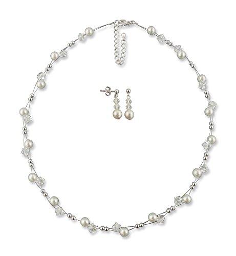 Rivelle Damen Schmuckset creme Brautschmuckset Perlen Swarovski kristall Kette Collier Ohrringe Hochzeit Geschenkbox