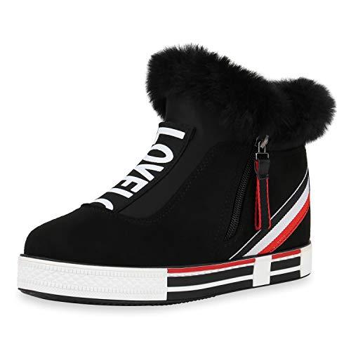 SCARPE VITA Damen Plateau Sneaker Warm Gefütterte Kunstfell Schuhe Logo Print Winter Turnschuhe Zipper Plateauschuhe 186766 Schwarz Zipper 36