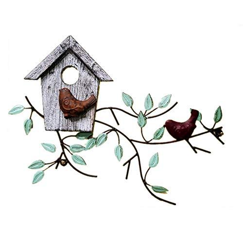 Decoración de pared de metal, árbol de metal y arte de pared de pájaro, pájaros abstractos rústicos de hierro forjado, decoración de pared, decoración de baño, para sala de estar, dormitorio, cocina