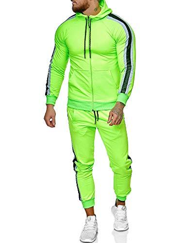 OneRedox | Herren Trainingsanzug | Jogginganzug | Sportanzug | Jogging Anzug | Hoodie-Sporthose | Jogging-Anzug | Trainings-Anzug | Jogging-Hose | Modell JG-1084 Grün-Grau S