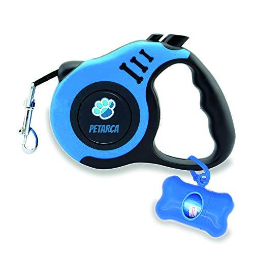 Retractable Dog Leash for Medium - Small Dogs. 16.5 Feet Small and Medium Dog Leash Retractable, Heavy-Duty Nylon Tape, Comfortable and Ergonomic Handle, Metallic Clasp, Easy Lock Button by PETARCA