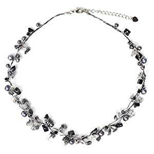 """NOVICA Dyed Gray Cultured Freshwater Pearl and Tourmalinated Quartz Necklace, 16.5"""" 'River of Night'"""