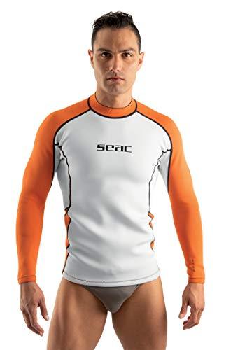 SEAC Fit Long Neopreno 2 mm con Mangas largas, Ideal para vestirla bajo del Traje de Buceo, para Nadar o Camiseta de Surf, Hombres, Bianco/Anaranjado, L