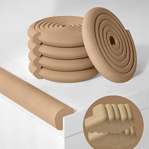 Ommda Protectores Para Esquinas y Bordes Protectores Esquinas Bebes Espuma Protector Bordes Muebles Goma para Bebe Protecciones Borde 6m y 10 Protector de Esquinas Forma de L marrón
