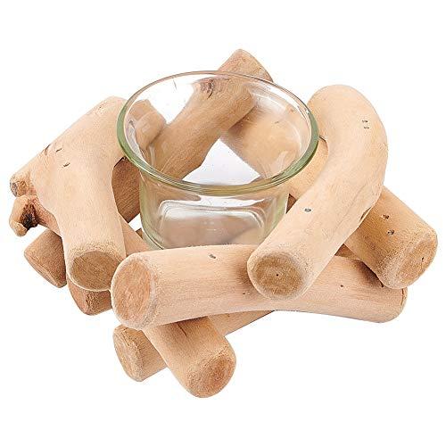 GORGECRAFT Handgefertigter Kerzenhalter aus natürlichem Treibholz, Kerzenständer mit Glasbecher, Landhausstil, für Zuhause, Bar, Tischdekoration, Abendessen, Hochzeit, Party
