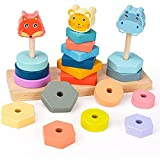 Greatangle-UK Bloques de construcción de Pila de Animales, Bloques de construcción de Torre giratoria de Juguete, Anillo de Pila para niños, Juguetes educativos de cognición Coloridos