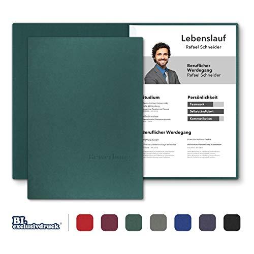 8 Stück zweiteilige Bewerbungsmappen BL-exclusivdruck® BL in Tannengrün - Premium-Qualität mit edler Relief-Prägung 'Bewerbung' - Produkt-Design von 'Mario Lemani'