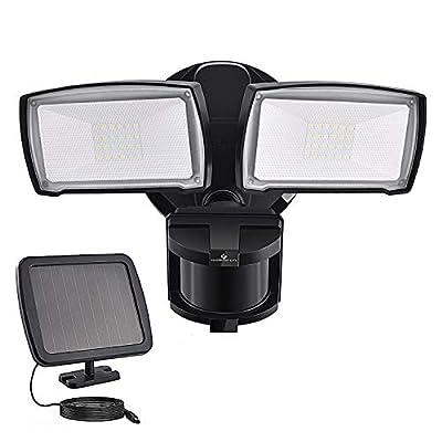 Solar Security Lights Outdoor, LED Solar Motion Sensor Light, GLORIOUS-LITE Rechargeable 1000lm Flood Light, 2400mAh Battery, 5500K, IP65Waterproof for Garage, Yard, Porch, Entryways - Black
