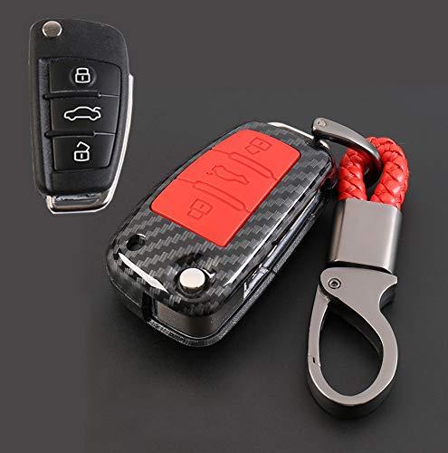 ontto Koolstofvezel Key Case Cover voor Audi, ABS & Natuurlijke Rubber Koolstofbeschermende Afstandsbediening Case Shell voor het voorkomen van vallen Scratch Sleutelhanger Sleutelhanger Ring 3 button carbon red