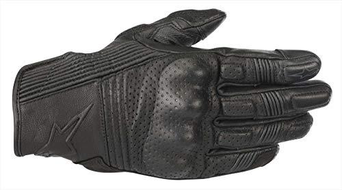 Alpinestars Men's Mustang V2 Leather Motorcycle Glove, Black/Black, Large