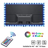Tiras LED TV, Yizhet 2m Tiras de Luces TV LED USB Iluminación RGB 5050 Tiras de Luz de Fondo de TV con Control Remoto, 16 Colores y 4 Modos para Televisores HD de 40-60 pulgadas