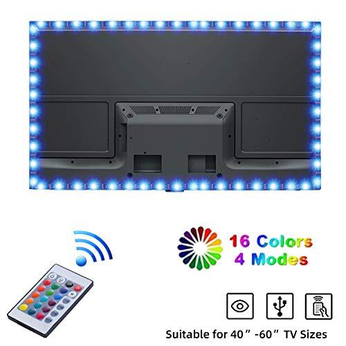 Yizhet LED TV Hintergrundbeleuchtung 2m RGB 5050 LED Streifen LED Fernseher Beleuchtung USB mit 24-Key Fernbedienung für 40 bis 60 Zoll HDTV, TV-Bildschirm und PC-Monitor (Schwarz FPCB)