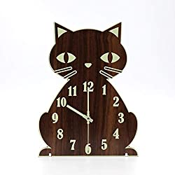 jomparis Night Light Function Wooden Wall Clock Cat Wall Clock Silent & Non-Ticking Battery Operated Grow in The Dark Animal Wall Clocks