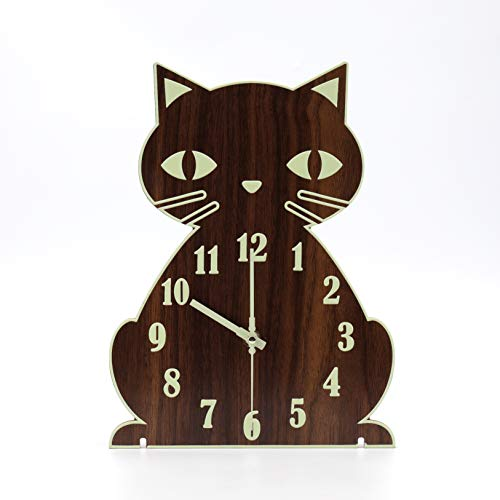 jomparis Night Light Function Wooden Wall Clock Cat Wall Clock Silent & Non-Ticking Battery Operated Indoor Clocks