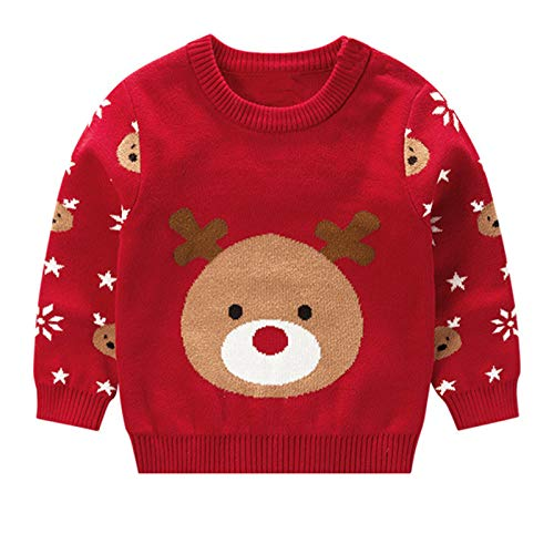Gaga city Jersey Punto Navidad Reno Niños Niñas, Sudaderas Navideñas Suéter Cálido Navideño Infantil Unisex 80-130CM