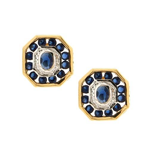 102361 - Pendientes para mujer, chapado en oro, óxido de circonio azul