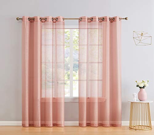 HLC.ME 2 Piece Semi Sheer Voile Light Filtering Window Curtain Grommet Panels for Bedroom, Living Room & Dining Room - Blush Pink - 54 W x 84 inch Long