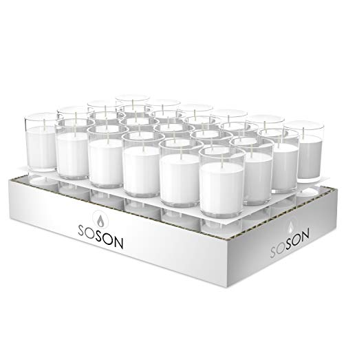 Simply Soson Unscented Votive Candles in Glass Bulk Pack of 48 Dripless Candles, Perfect Wedding Candles,15 Hours Long Burn Candles for Parties and Special Occasions- Candlelight Votive.