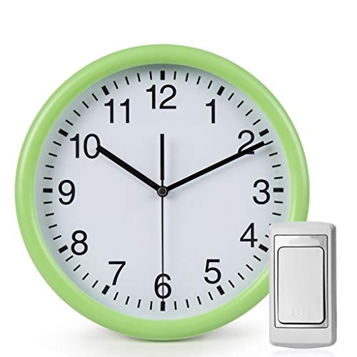 Xinxinchaoshi Kreative Drahtlose Türklingel Home Mute Elektronische Wanduhr Two in One Mute Wanduhr Drahtlose Türklingel (batteriebetrieben) (Color : Green)
