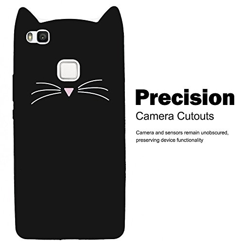 SevenPanda para Huawei P8 Lite 2016 / Huawei P8 Lite 2016 Funda, Protectora Funda Silicona 3D Gato Design Funda Protectora Linda Beard Gato TPU Gato con Scratchproof Funda - Negro