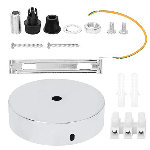 Aluminium 180 graden roterende ronde vorm Plafondlamp Lampvoet DIY Lichtaccessoires voor thuiskantoorverlichting(Zilver)